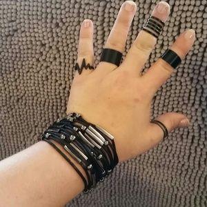 Jewelry - *Leather Bracelet & 3 Black Rings*