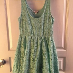 Seafoam Green Sleeveless Lace Dress