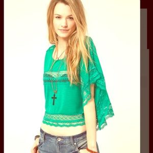 FREE PEOPLE Crop Top Lace Inset Cape Top Stripes