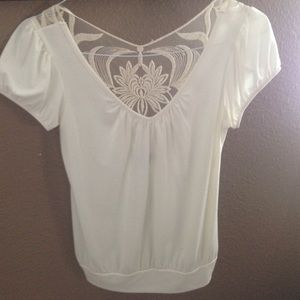 Cream lace back top
