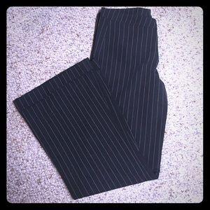Wide leg pinstripe dress pants
