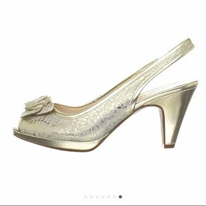 Anne Klein silver and gold foil heels with roses