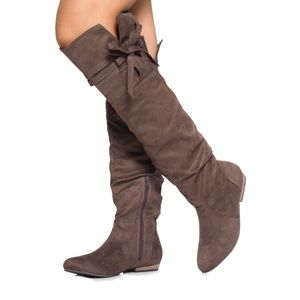 Brand new JustFab knee high boots brown taupe