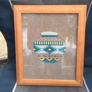 Embroidered native pot picture, in a black frame!