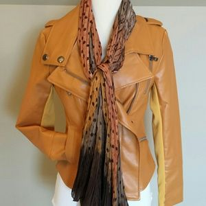 Moto jacket with matching scarf
