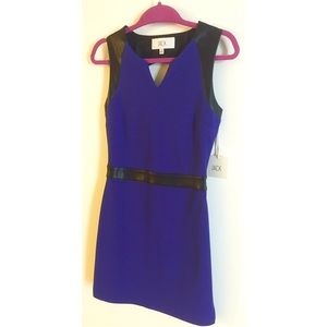 Royal purple and faux leather dress