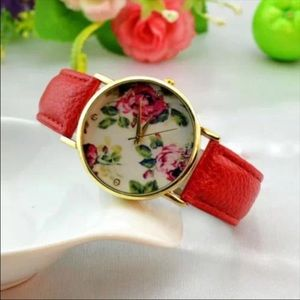 Floral watch with rose colored band