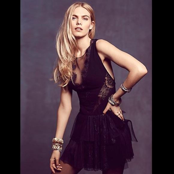 b05d83c7347 ❗️1 DAY SALE❗️Free People black lace ruffle dress