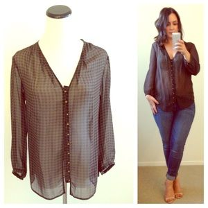 J. Crew Tops - Houndstooth Silk Blouse