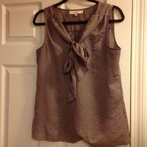 Loft grey tie neck blouse