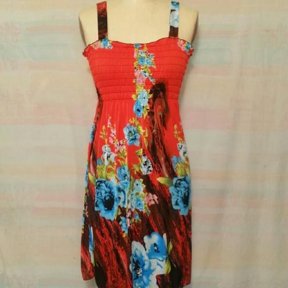 2450fa3243c3 Handmade Dresses & Skirts - Hula Stretch Tube top Sundress, Red w Floral  Print