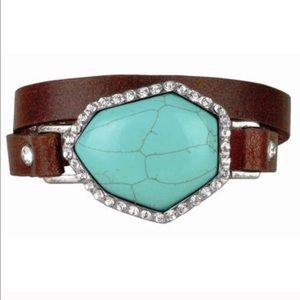 The CYNDI turquoise leather wrap bracelet- BROWN