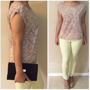 Forever 21 Tops - Forever 21 Beige & Multicolor Print Boxy Top