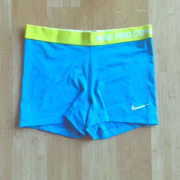 63% off Nike Pants - Nike Pro blue/neon green shorts from Luxe's ...