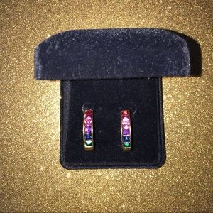 Multicolored Stone Earrings, Pierced
