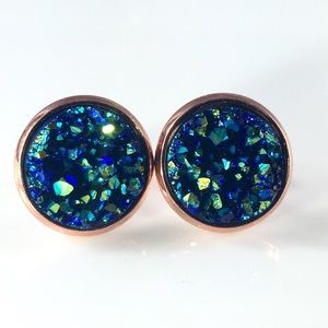 Handmade Jewelry - 3 for 15🎀chunky blue iridescent Drusy style studs