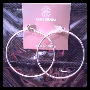 NWT Sterling Silver a Hoop Earrings