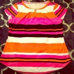 ✂️FINAL✂️Vibrant Pink/Orange/B&W Striped Top