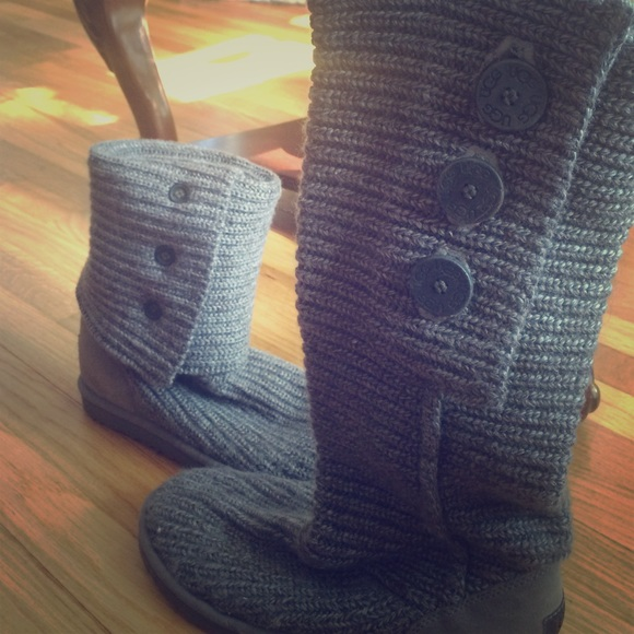 Ugg Shoes Knit Gray Boots With Three Button Details Poshmark