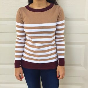 Zara Sweaters - Zara Beige/White Striped Sweater