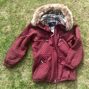 Burberry London Fur-Lined Hood Coat Maroon Quilted
