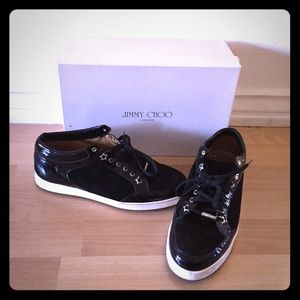 Jimmy Choo Black Patent/Suede Sneakers