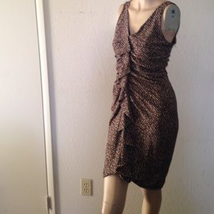 En Focus Knee Dress Leopard  SZ 8 NWOT