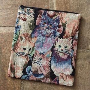Cat tapestry pouch fold over clutch 