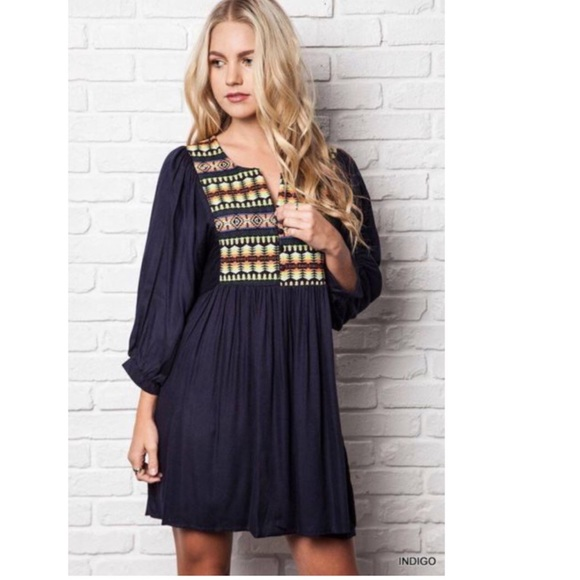 43% off Umgee Dresses & Skirts - Umgee Navy Blue Aztec Print Tunic ...