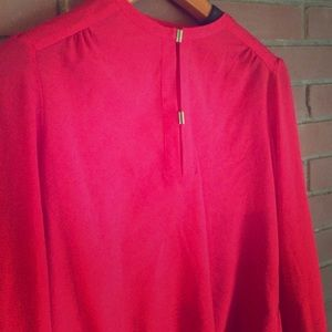 Red chiffon blouse w/ gold detailing