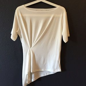 Stretchy asymmetric white top
