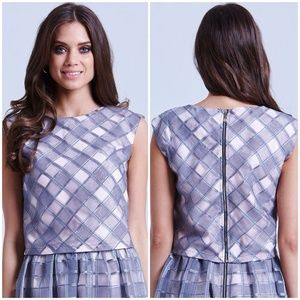 Tops - Grey + Blush Pink Check Organza Crop Top Tank