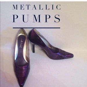 Anne Michelle Shoes - Metallic-like Purple Pumps 4inch Heel