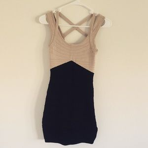 Tan and black body con dress