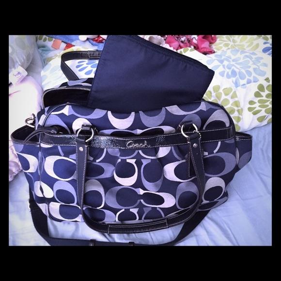 55 Off Coach Handbags Navy Blue Coach Diaper Bag With