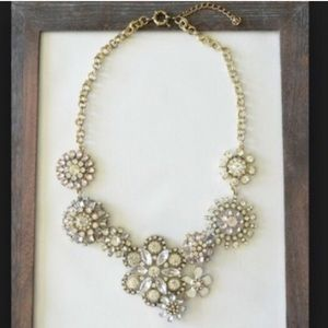 Floral statement necklace crystal NWOT brass