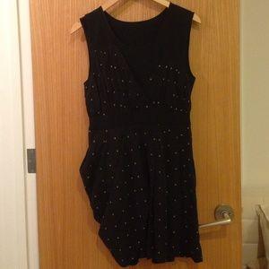 Black Polka Dot Dress with Draping