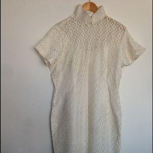 PRICE DROP Vintage White Lace Mandarin Dress