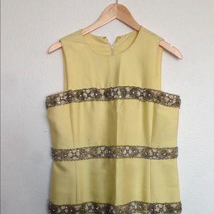 PRICE DROP Vintage Yellow Chiffon Dress w/Beading