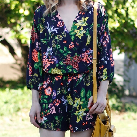 Foreign Exchange Navy Floral Print Romper