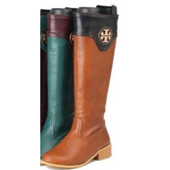 931ff9130bb ... spain brown and black tory burch riding boots 47f0e 02189