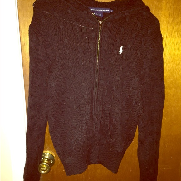 Ralph Lauren - Ralph Lauren Black Cable Knit Zip Up Hoodie from ...
