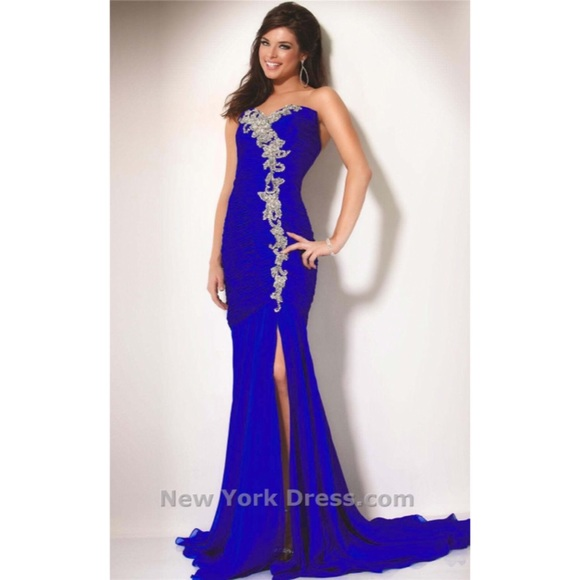 Jovani Dresses | Cobalt Blue Designer Prom Dress | Poshmark