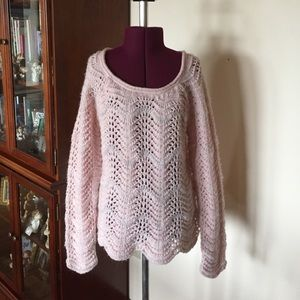 American Eagle Pink Crocheted Sweater M