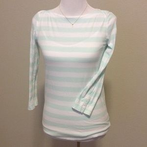 GAP Tops - XS Essential Boatneck Tee. mint/white striped.