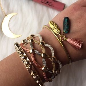 ✨PM Editor Pick✨ Tassel & Charms Metal Gold Cuff