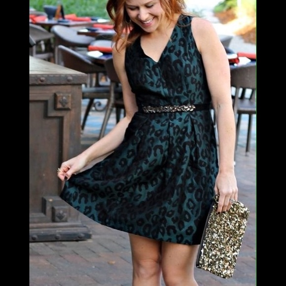 93972ba49c NWT LOFT green and black leopard print dress