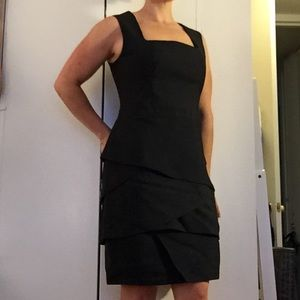 REISS Size 10 Silk Black Dress /w subtle layers