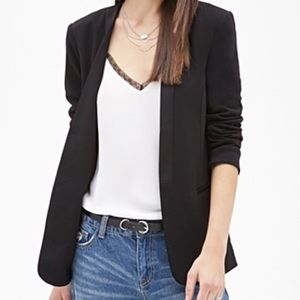 Black Satin Lapel Blazer