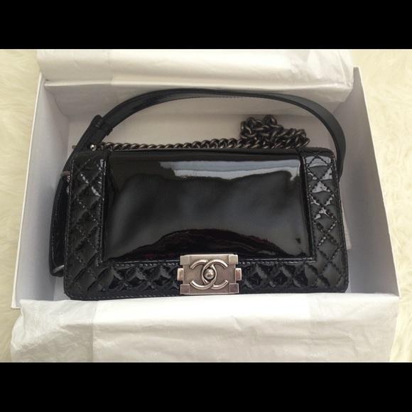 1cd7f0d0fdbe CHANEL Handbags - Chanel Le Boy Black Patent Medium 🚫ON HOLD!